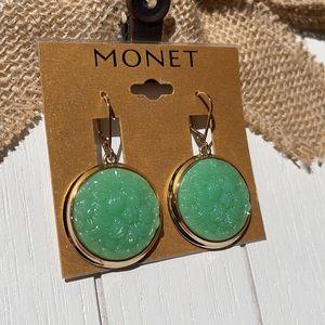 Beautiful Monet Gold and Green Earrings